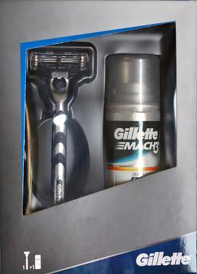 Подарочный набор Gillette Mach3 станок + 1 кассета + гель
