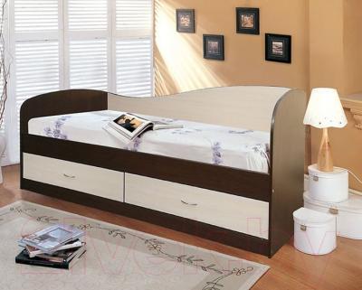Односпальная кровать Мебель-Класс Лагуна-2 (венге-дуб молочный) - в интерьере