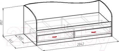Односпальная кровать Мебель-Класс Лагуна-2 (венге-дуб молочный) - размеры