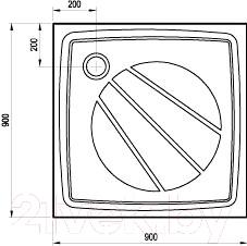 Душевой поддон Ravak Perseus Pro 90 (XA037701010) - схема