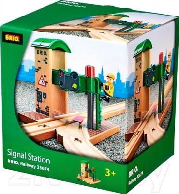 Элемент железной дороги Brio Станция с переключателем светофоров 33674