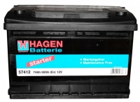 Автомобильный аккумулятор Hagen 74 А/ч -