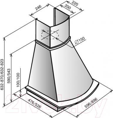Вытяжка купольная Elikor Ротонда SC 90 / 90П-1000-С4Г (бежевый/дуб неокрашенный)