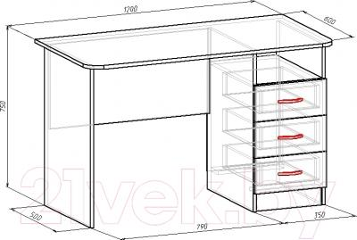 Компьютерный стол Мебель-Класс Альянс левый (венге-дуб молочный) - размеры
