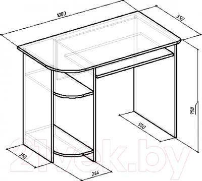Компьютерный стол Мебель-Класс Компакт (венге-дуб молочный) - размеры