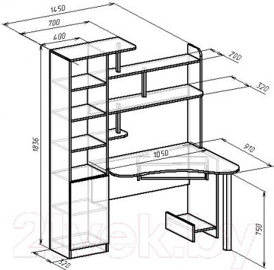 Компьютерный стол Мебель-Класс Соната правый (венге-дуб молочный) - размеры