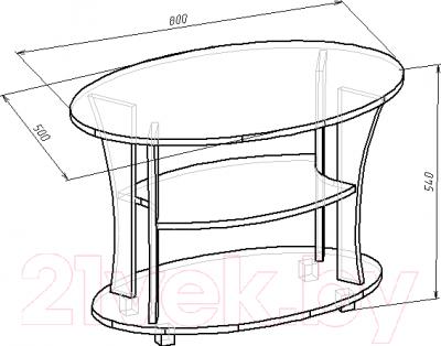 Журнальный столик Мебель-Класс Барселона (венге-дуб молочный 2) - размеры