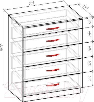 Комод Мебель-Класс ВА-010 (венге-дуб молочный) - размеры