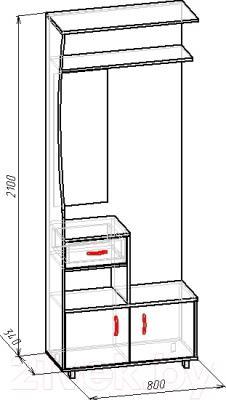 Секция в прихожую Мебель-Класс Толедо левый (венге-дуб молочный) - размеры