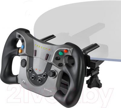 Игровой руль Defender Forsage Sport / 64372 - крепление струбцинами на столе и под столом