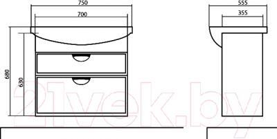 Тумба с умывальником Аква Родос Глория 75 / 05GL75 - технический чертеж