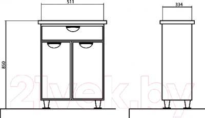 Тумба для ванной Аква Родос Глория (05TN2) - размеры