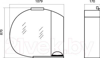 Шкаф с зеркалом для ванной Аква Родос Глория 105 R (ZGLP105) - размеры