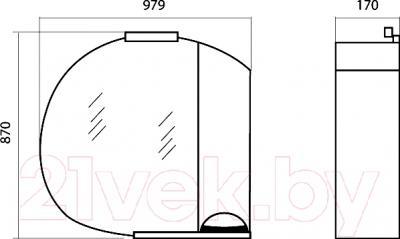 Шкаф с зеркалом для ванной Аква Родос Глория 95 R (ZGLP95) - размеры