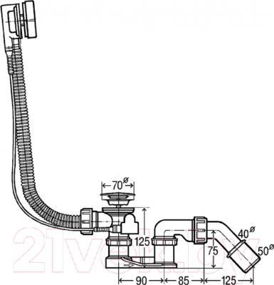 Сифон для ванны Viega 495121 - технический чертеж