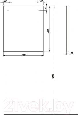 Зеркало для ванной Kolo Domino 88311 (белый) - технический чертеж
