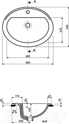 Умывальник встраиваемый Kolo Nova Top 1517 56x45 - схема