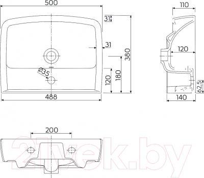 Умывальник накладной Kolo Rekord K91952 50x38 - схема