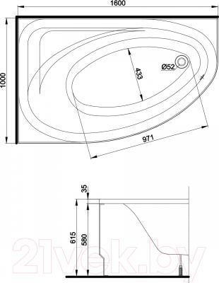 Экран для ванны Kolo Promise 150 - технический чертеж