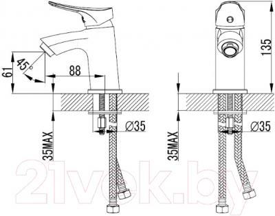 Смеситель Milardo Volga VOLSB00M01 - схема
