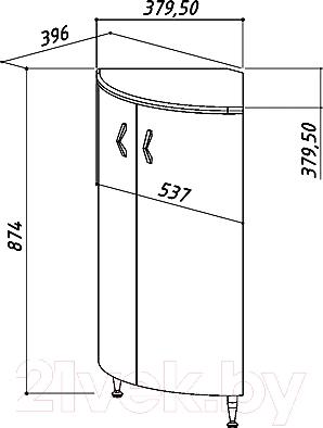 Тумба под умывальник Belux Микро НУ50 - технический чертеж