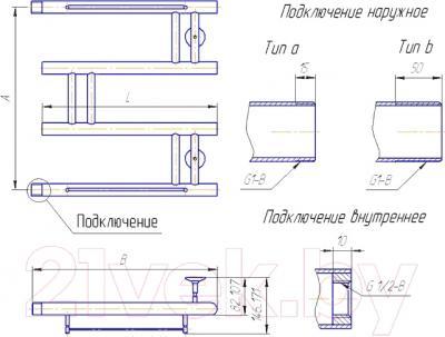 """Полотенцесушитель водяной Gloss & Reiter Modern М.3 50x70 (1"""") - схема"""