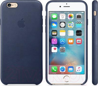 Чехол-бампер Apple Leather Case MKXU2ZM/A (темно-синий)