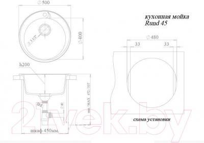 Мойка кухонная Ewigstein Rund 45 (черный)