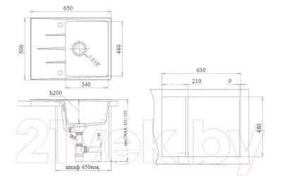 Мойка кухонная Ewigstein Gerd 45F (серый металлик)