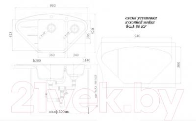 Мойка кухонная Ewigstein Wink 80KF (серый металлик)