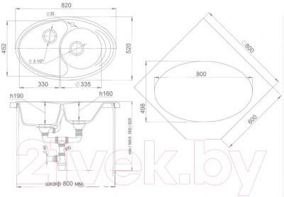 Мойка кухонная Ewigstein Elegant W90KF (топаз)