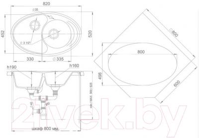 Мойка кухонная Ewigstein Elegant W90KF (серый металлик)