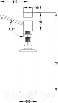 Дозатор встраиваемый в мойку Ewigstein 003 (серый металлик) - технический чертеж