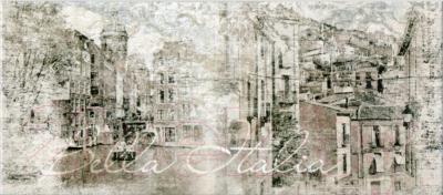Декоративная плитка для ванной PiezaRosa Граффито Сити 137672 (200x450, серый)