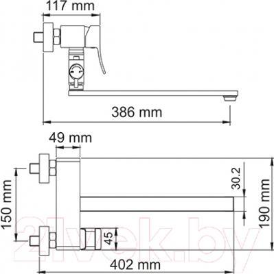 Смеситель Wasserkraft Exter 1602L - схема