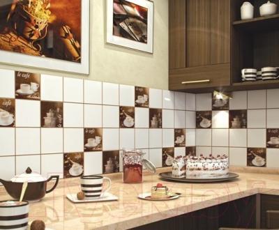 Декоративная плитка для кухни М-Квадрат Моноколор Кофе Микс 2 340062 (250x400, бежевый)