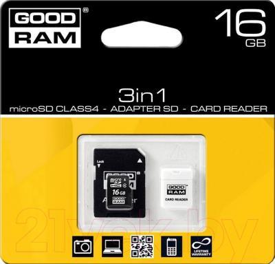 Карта памяти Goodram microSDHC class 10 UHS 1 16GB + адаптер (USDR416GBC10R9)