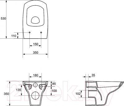 Унитаз подвесной Cersanit Carina / K31-002 - технический чертеж