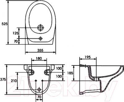 Биде подвесное Cersanit Delfi / K11-0018 - технический чертеж