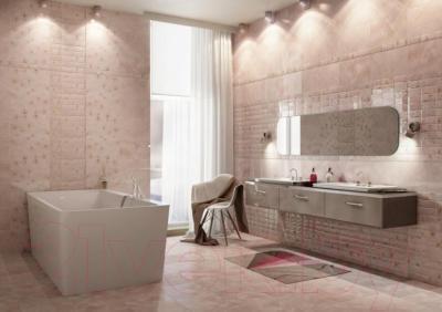 Декоративная плитка для ванной PiezaRosa Мартиника Цветы 126443 (250x400, розовый)