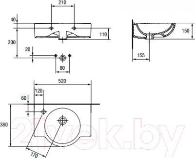Умывальник Cersanit Nano 50 / P-UM-N50/1-P (правый) - схема