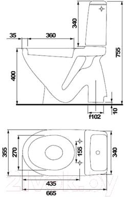 Унитаз напольный Cersanit Eko / UWG-KO-02-E021-1-3/6 - схема
