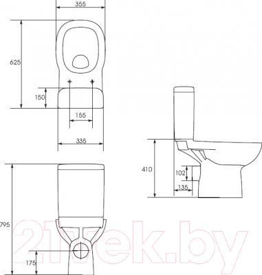 Унитаз напольный Cersanit Facile 011 / K30-016 - схема