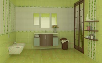 Бордюр для ванной НЗКМ Маки (200x57, фисташковый)