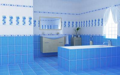 Декоративная плитка для ванной НЗКМ Маки (200x300, лазурный)