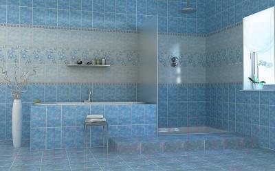 Декоративная плитка для ванной НЗКМ Георгин (200x300, голубой)