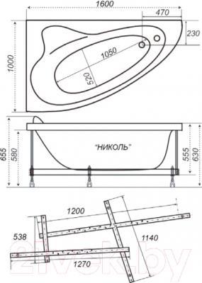 Ванна акриловая Triton Николь 160x100 L