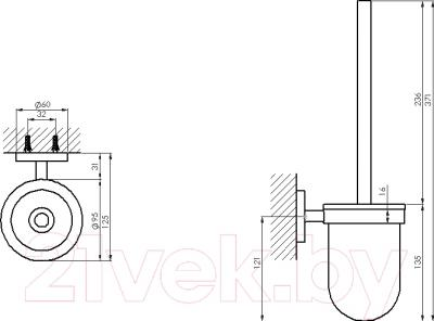 Ершик для унитаза Steinberg Series 650.2911 - технический чертеж
