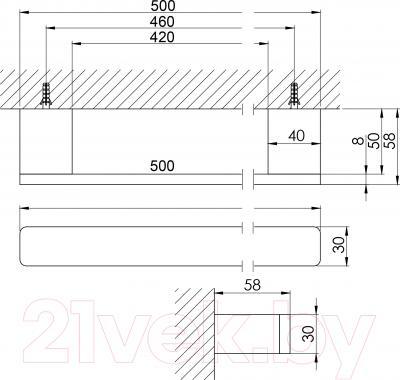 Держатель для полотенца Steinberg Series 420.2645 - технический чертеж