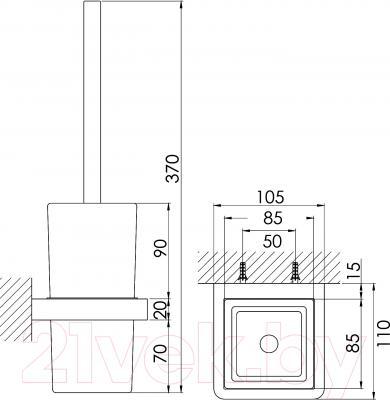 Ершик для унитаза Steinberg Series 420.2901 - технический чертеж
